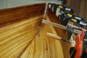 Gluing the Inner Rail On A Wee Lassie Cedar Strip Canoe